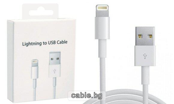 Кабел за iPhone5 - USB, бял, 1 метър