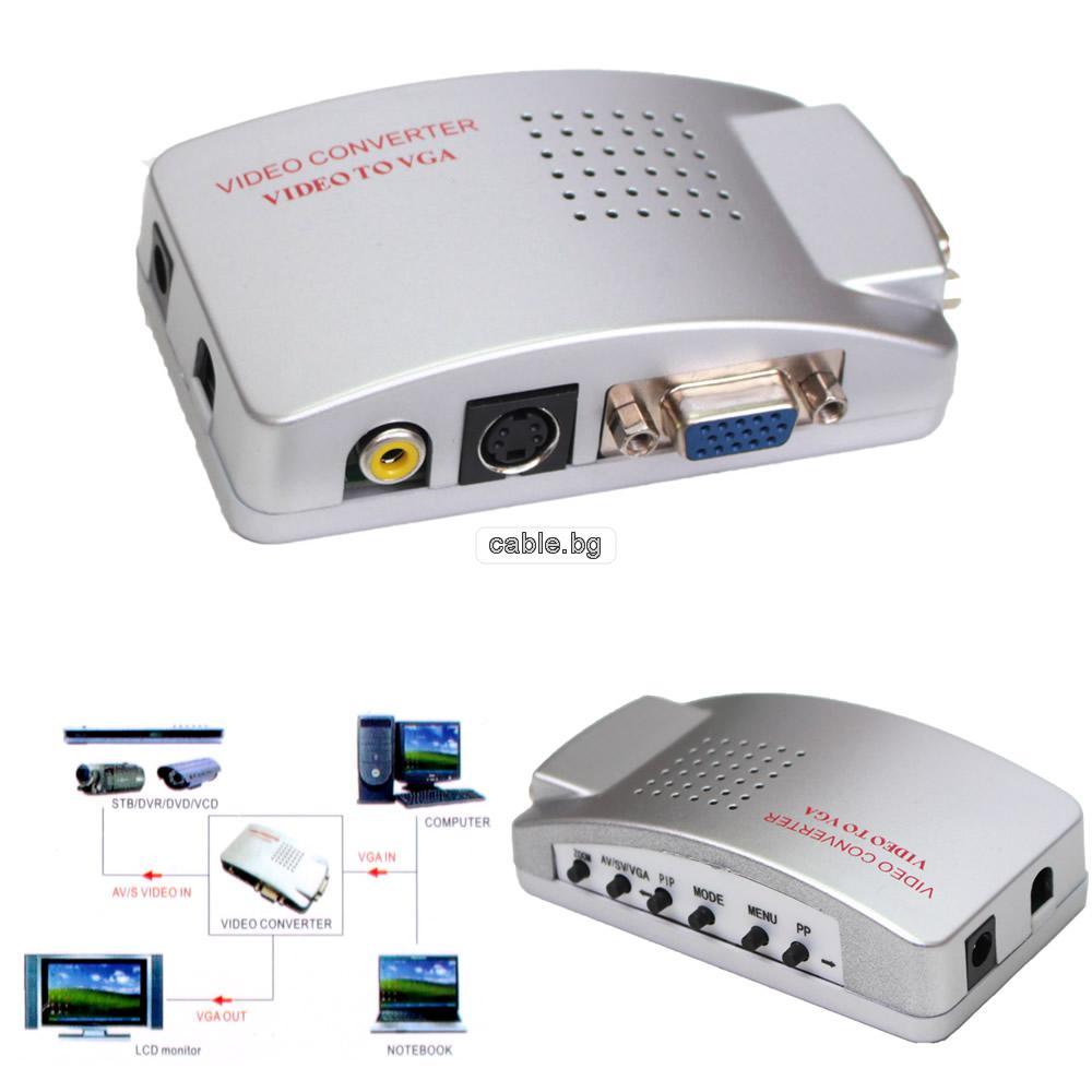 Конвертор TV RCA S-VIDEO to VGA