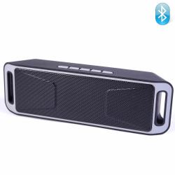 Bluetooth колонка K812A, FM радио, слот за USB/micro SD CARD/AUX, сивa