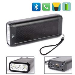 Bluetooth колонка Stereo 2x5W | HandsFree | Power Bank | LED фенер | USB SD , метална, W