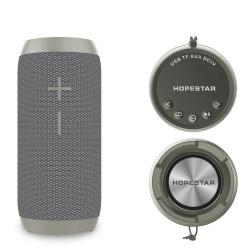 Bluetooth колонка HOPESTAR P7+ Power Bank, FM радио, литиево-йонна батерия, влагозащита, слот за USB/micro SD CARD/AUX, сива