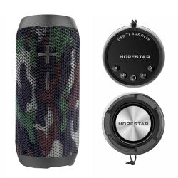 Bluetooth колонка HOPESTAR P7+ Power Bank, FM радио, литиево-йонна батерия, влагозащита, слот за USB/micro SD CARD/AUX, камофлажно-зелена